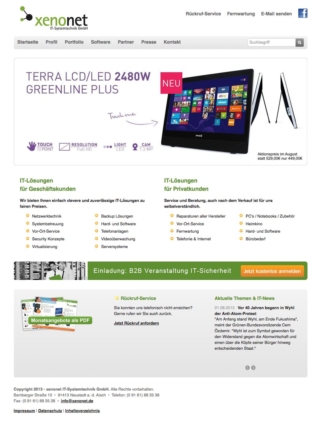 Corporate Website Fur Xenonet It Systemtechnik Contao Cms Netzwerktechnik Startseiten Losung