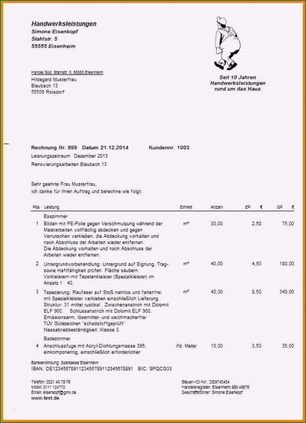 28 Suss Handwerkerrechnung Muster Vorlage Bilder In 2020 Briefkopf Vorlage Vorlagen Word Ordner Etiketten Vorlage