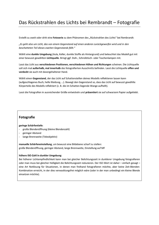 Praxisaufgabe Fotografie Malerei Olmalerei Licht Tipps Unterrichtsmaterial Im Fach Kunst Olmalerei Fotografie Malerei