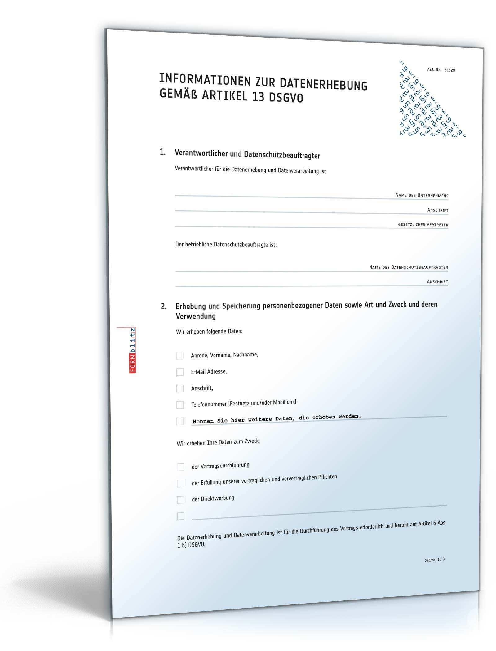 Informationen Zur Datenerhebung Muster Zum Download