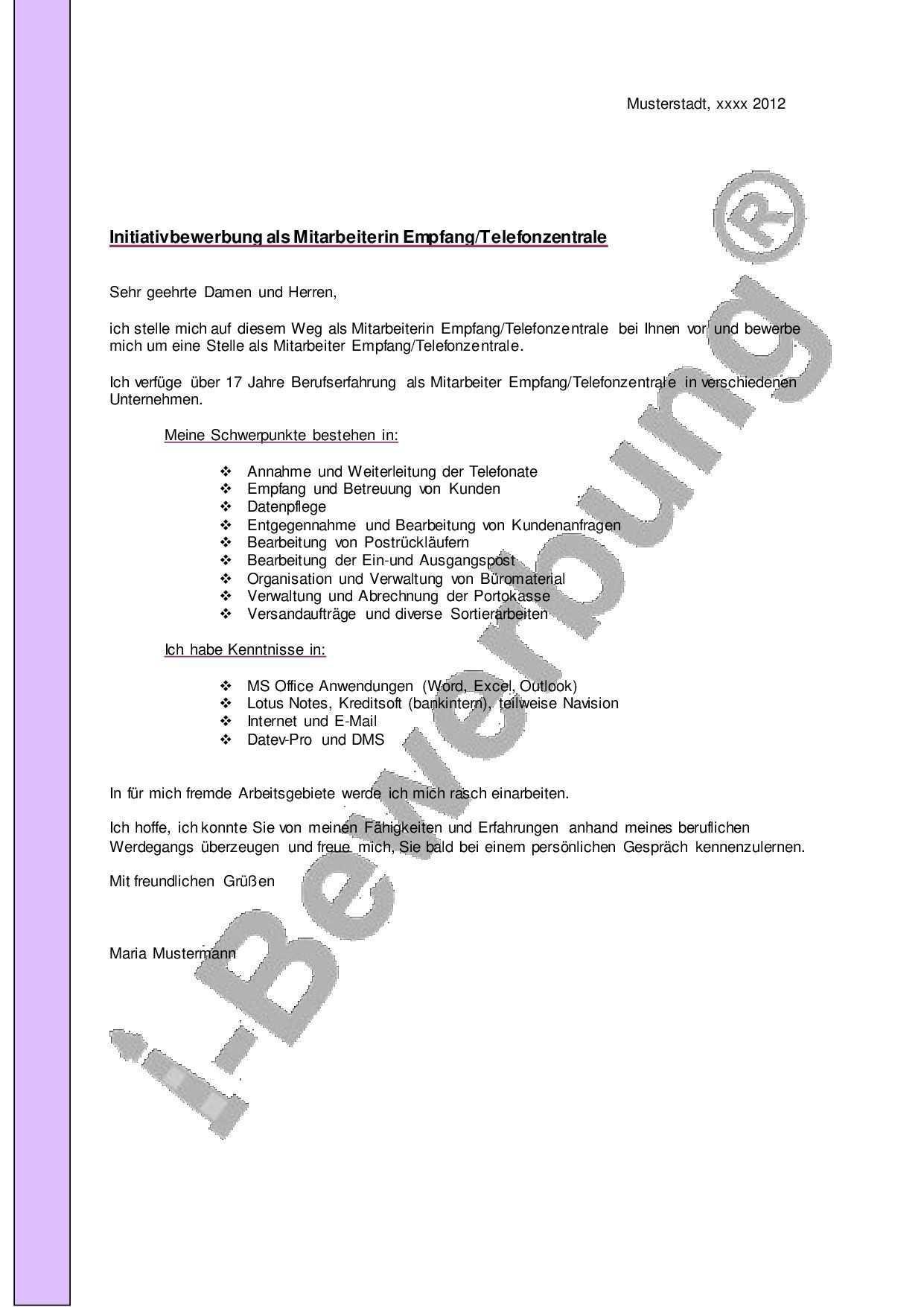 Initiativbewerbung Mitarbeiter Telefonzentrale Muster Anschreiben Anschreiben Stellenbewerbung Bewerbung Schreiben