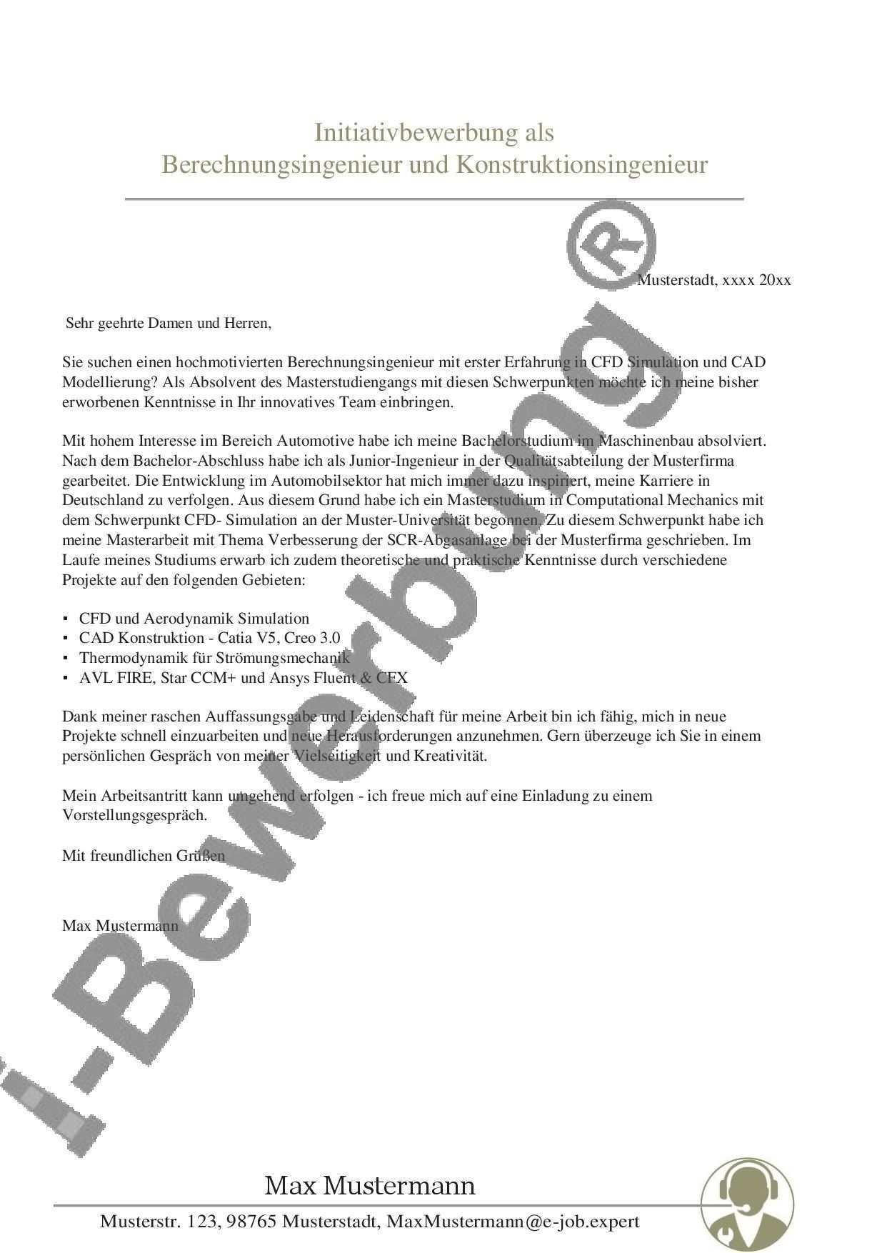 Anschreiben Zur Initiativbewerbung Als Berechnungsingenieur Bewerbung Lebenslauf Vorlage Bewerbung Anschreiben