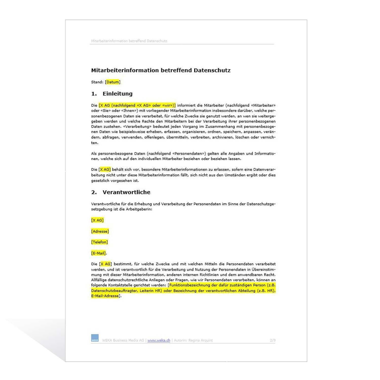 Muster Mitarbeiterinformation Betreffend Datenschutz
