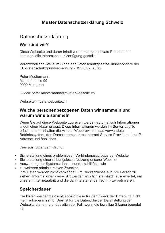 Datenschutzerklarung Schweiz Muster Vorlage Muster Vorlage Ch