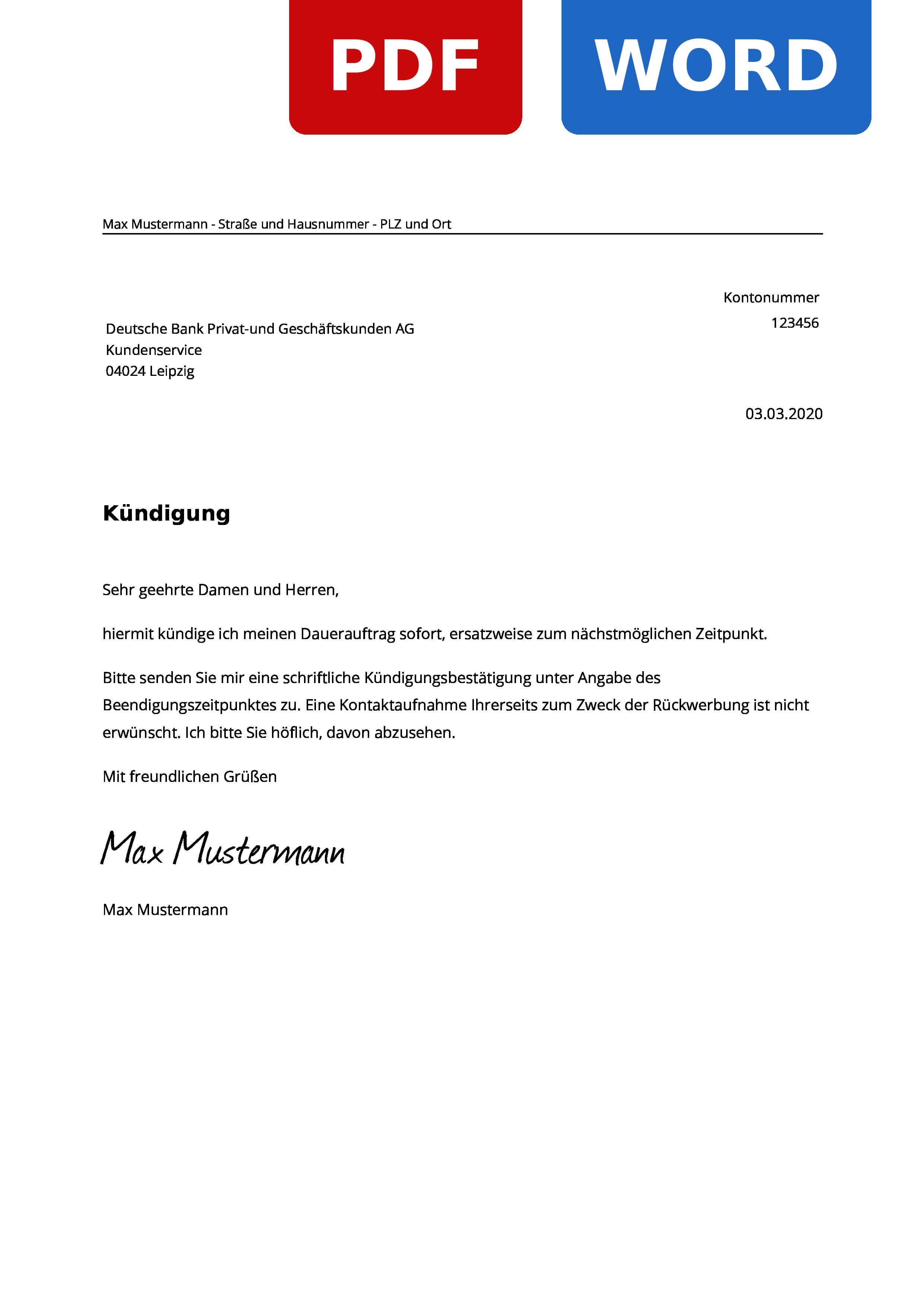 Deutsche Bank Dauerauftrag Kundigen Muster Vorlage