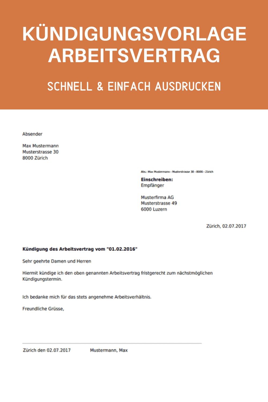 Arbeitsvertrag Kundigen Vorlage Zum Ausdrucken Kundigung Kundigung Arbeitsvertrag Vertrag