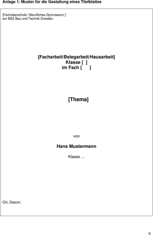 Hinweise Zur Erstellung Einer Facharbeit Belegarbeit Hausarbeit Pdf Kostenfreier Download