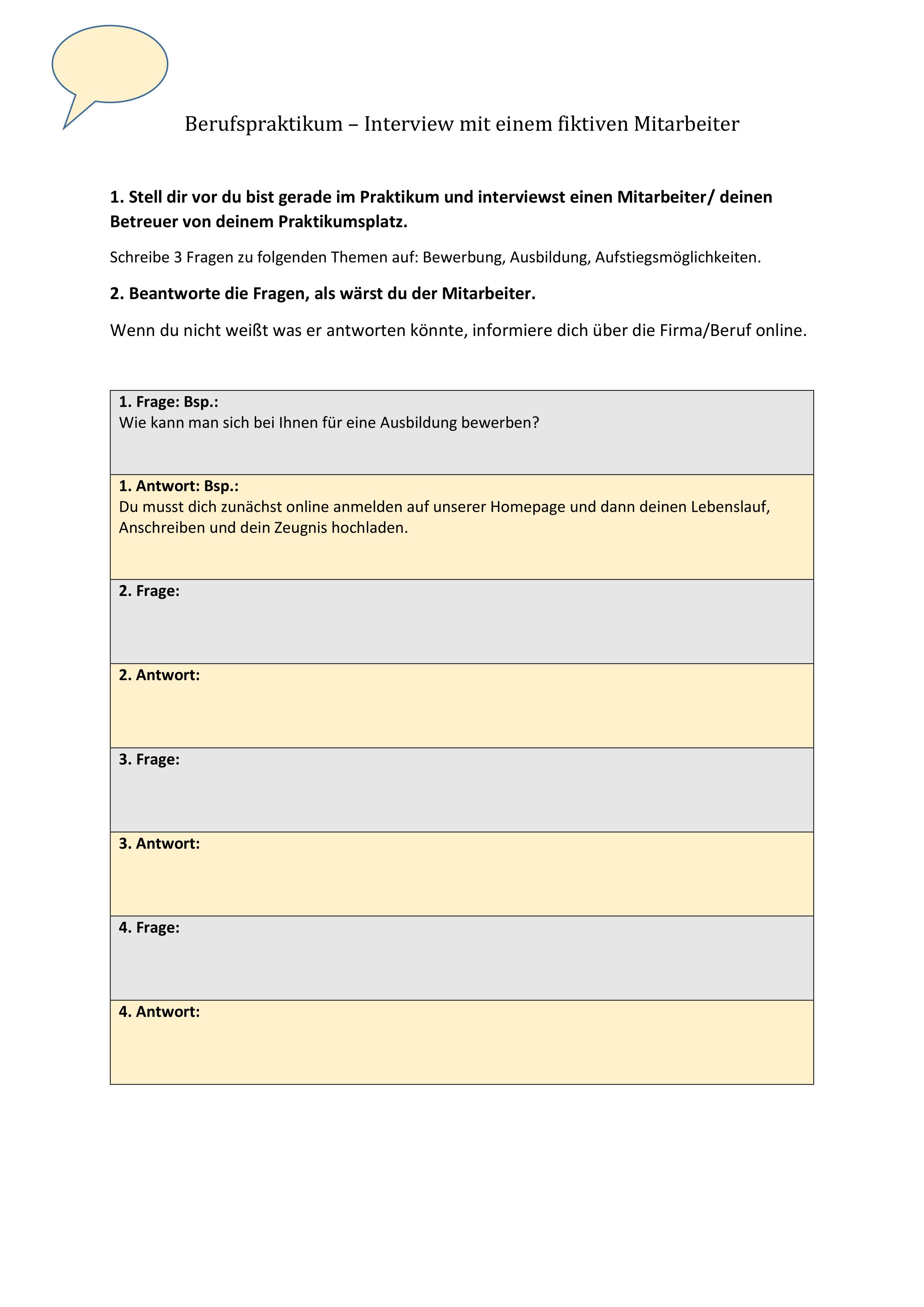Berufspraktikum Interview Unterrichtsmaterial In Den Fachern Arbeitslehre Deutsch Praktikumsbericht Interview Unterrichtsvorbereitung