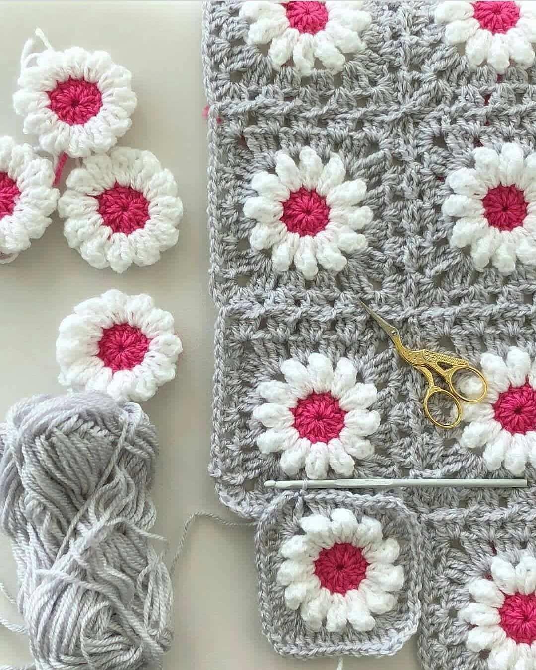 Crochet Flower Gray Quadratische Muster Hakeln Decke Hakeln Muster Patchworkdecke Hakeln