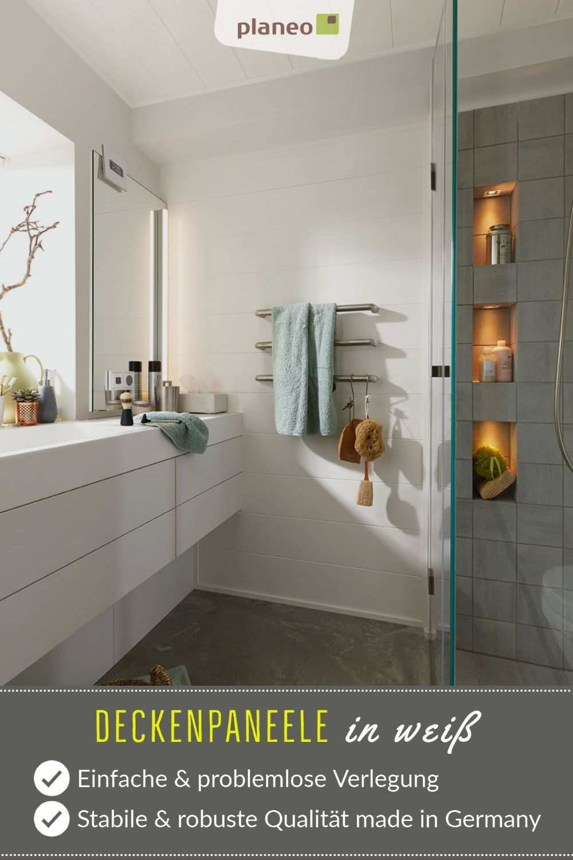 Deckenpaneele In Weiss Langlebige Qualitat Made In Germany In 2020 Badezimmer Klein Badezimmer Dekor Diy Deckenpaneele