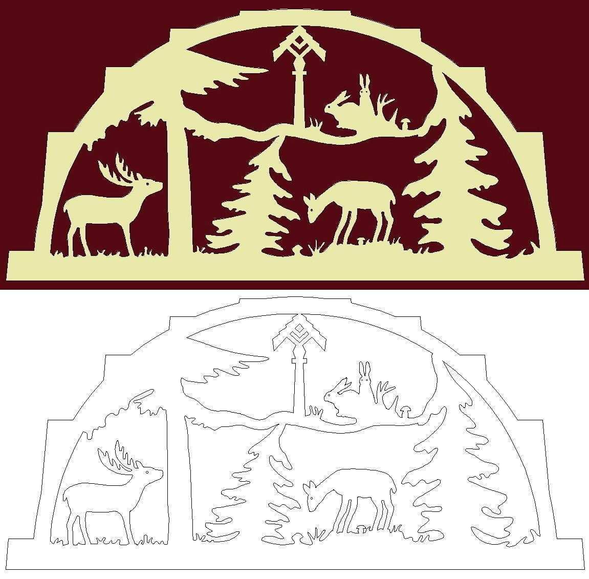 Schwibbogen Vorlage Tiere Mit Futterstelle Im Forst Laubsage Vorlagen Weihnachten Schwibbogen Holzarbeiten