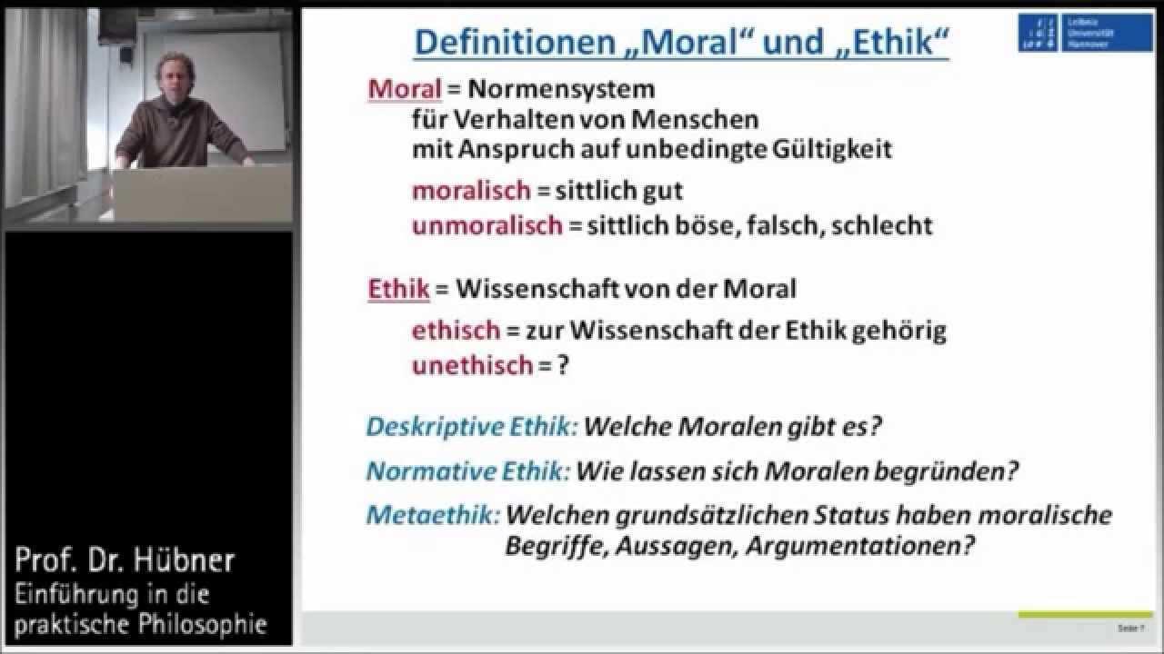 Praktische Philosophie 1a Ethik Und Moral Begriffsklarungen Youtube