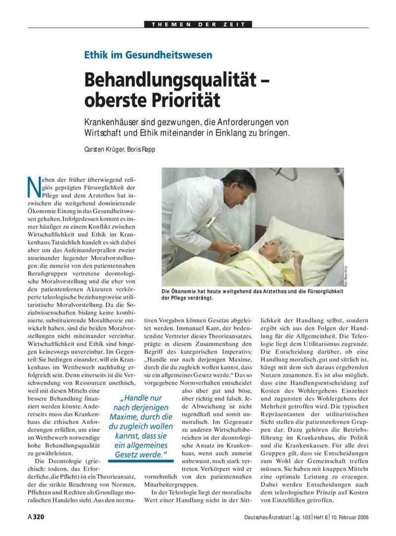 Ethik Im Gesundheitswesen Behandlungsqualitat Oberste Prioritat