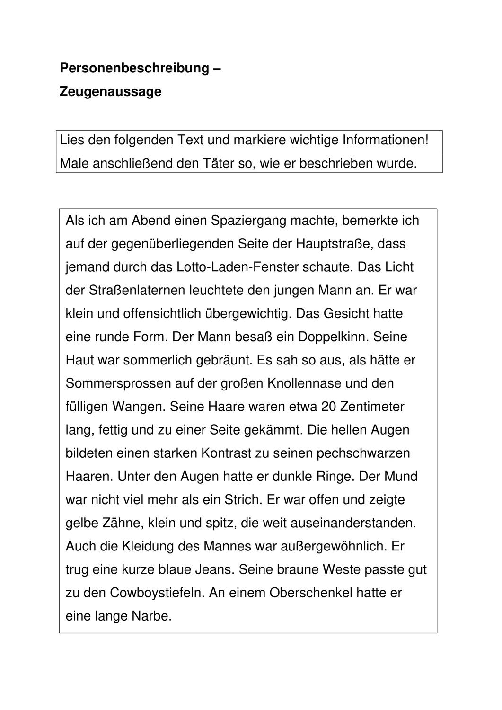 Personenbeschreibung Zeugenaussage Unterrichtsmaterial Im Fach Deutsch Personenbeschreibung Genaues Lesen Unterrichtsmaterial