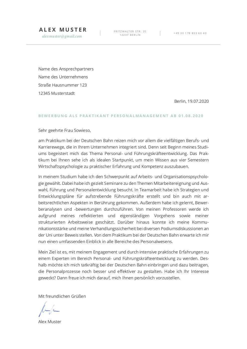 Deutsche Bahn Bewerbung Muster