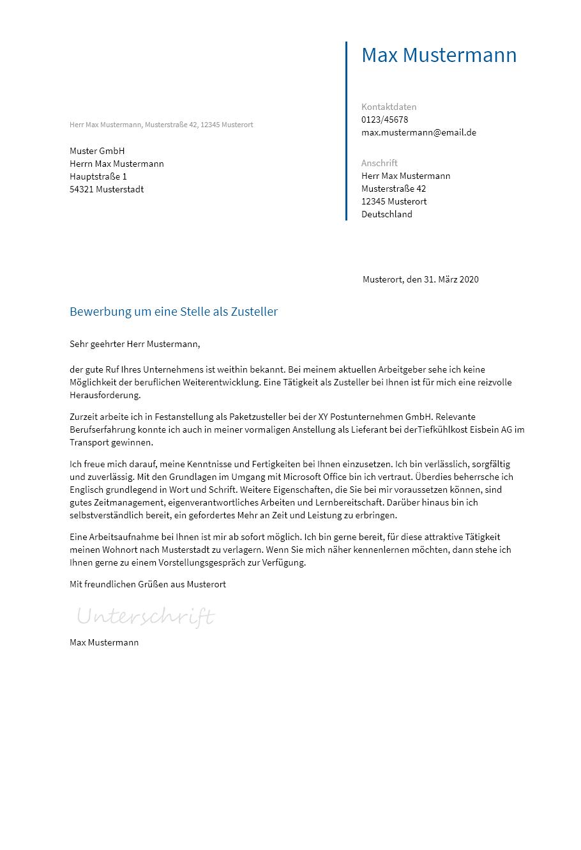 Bewerbungsvorlagen Als Zusteller Bewerbung2go