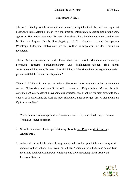 Klassenarbeit Dialektische Erorterung Unterrichtsmaterial Im Fach Deutsch Klassenarbeiten Erorterung Erste Klasse