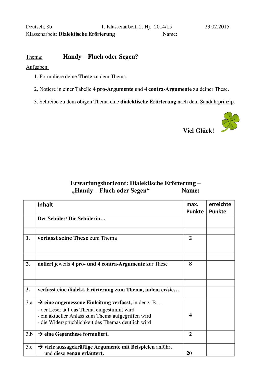 Ka Dialektische Erorterung Argumentation Handy Unterrichtsmaterial Im Fach Deutsch Lehrer Tipps Klassenarbeiten Erorterung