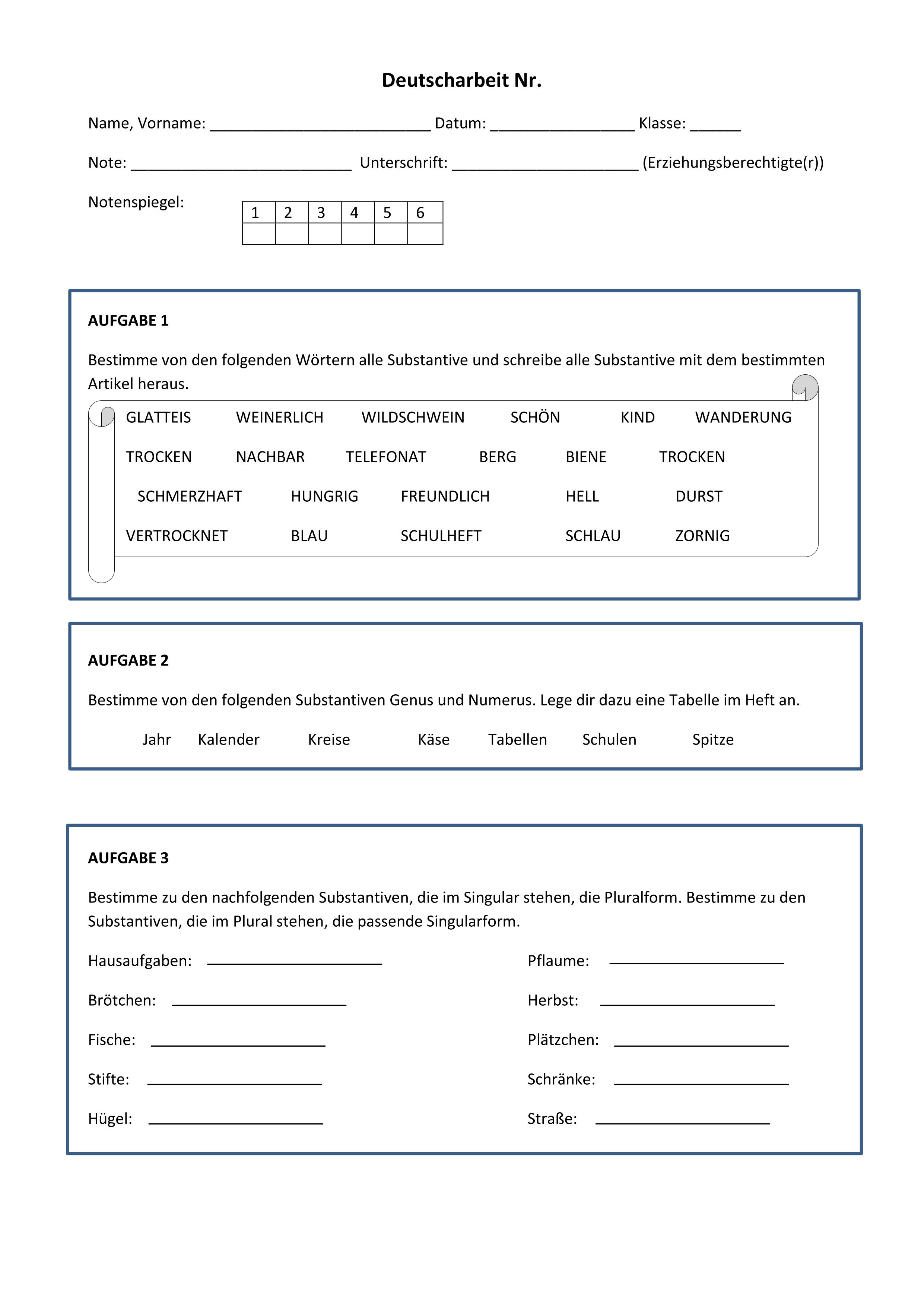 Klassenarbeit Grammatik Substantive Und Adjektive Spendenaktion Unterrichtsmaterial In Den Fachern Daz Daf Deutsch Adjektive Klassenarbeiten Wortarten