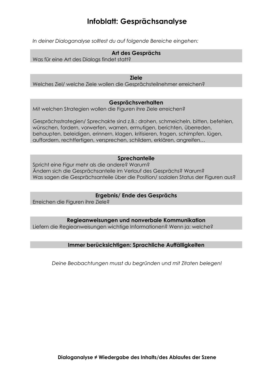 Merkblatt Dialoganalyse Drama Gesprachsverlauf Unterrichtsmaterial Im Fach Deutsch Leitfaden Drama Merken