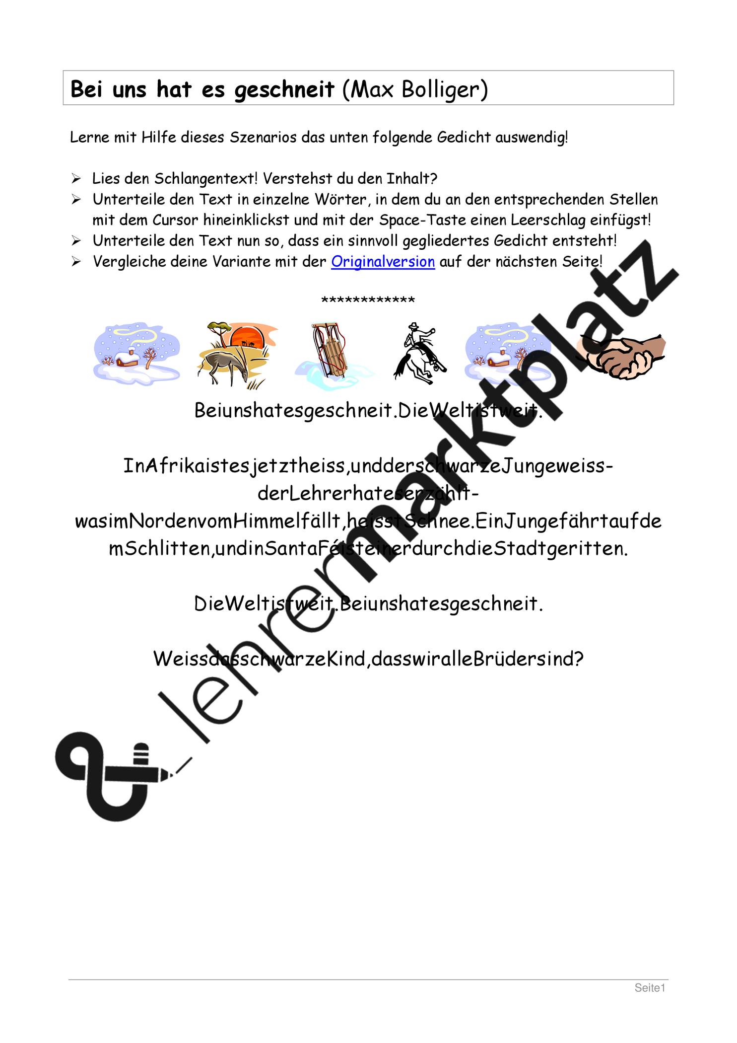 Gedicht Lernen Unterrichtsmaterial Im Fach Deutsch Lernen Unterricht Ideen Auswendig Lernen