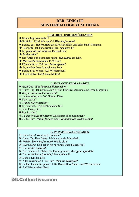 Der Einkauf Dialoge Deutsch Lernen Einkaufen Text Auf Deutsch