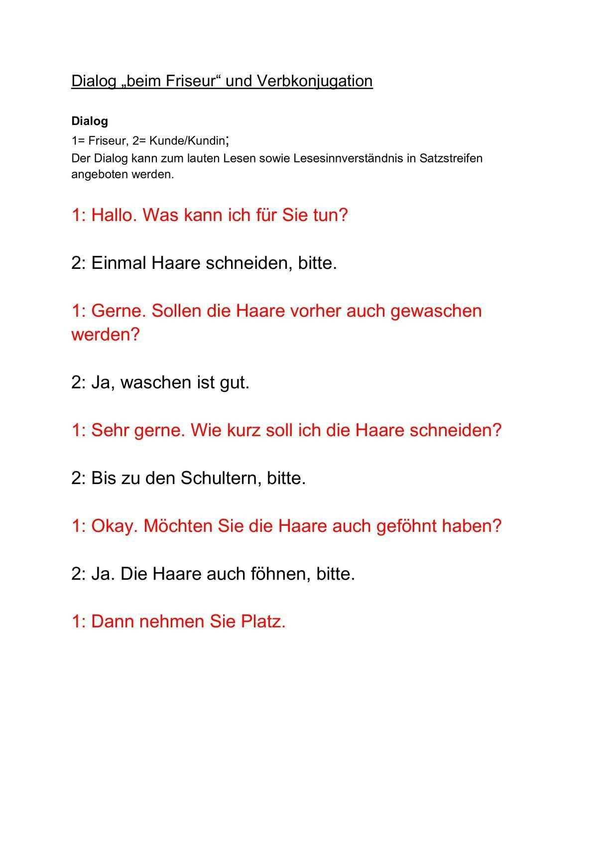 Dialog Beim Friseur Und Luckensatze Sprache Einfache Satze Lesen Verben