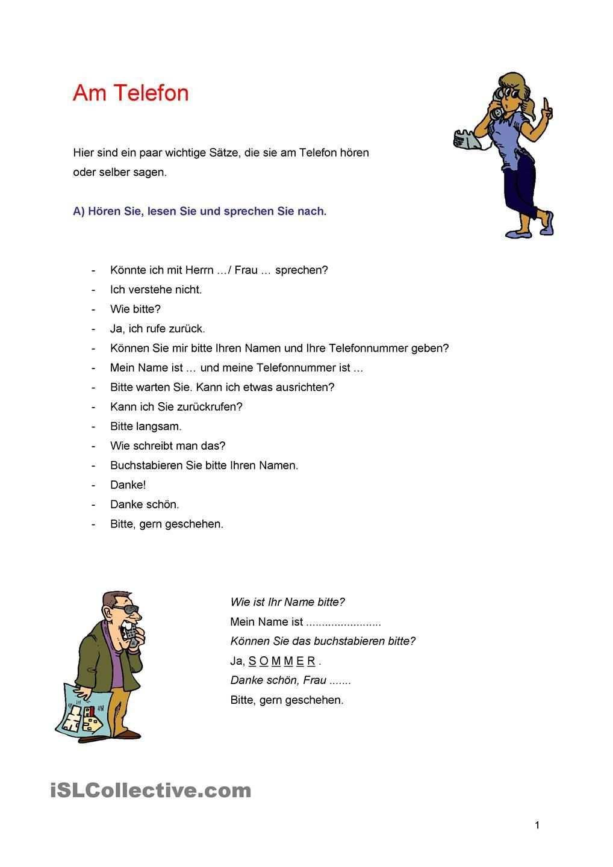 Am Telefon Deutsch Lernen Kommunikation Lernen Text Auf Deutsch