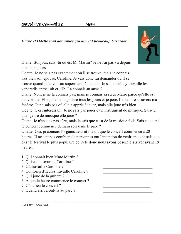 Savoir Vs Connaitre Lectura Franzosische Lesung Unterrichtsmaterial Im Fach Franzosisch Unterrichtsmaterial Franzosisch Franzosisch Stunde