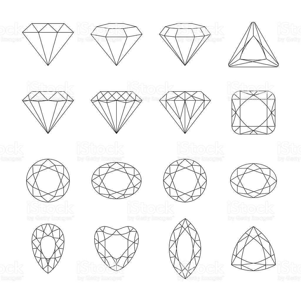 Set Of Isolated Gem Stones Vector Set Of Diamond Design Elements Diamant Zeichnung Juwel Tattoo Diamant Design