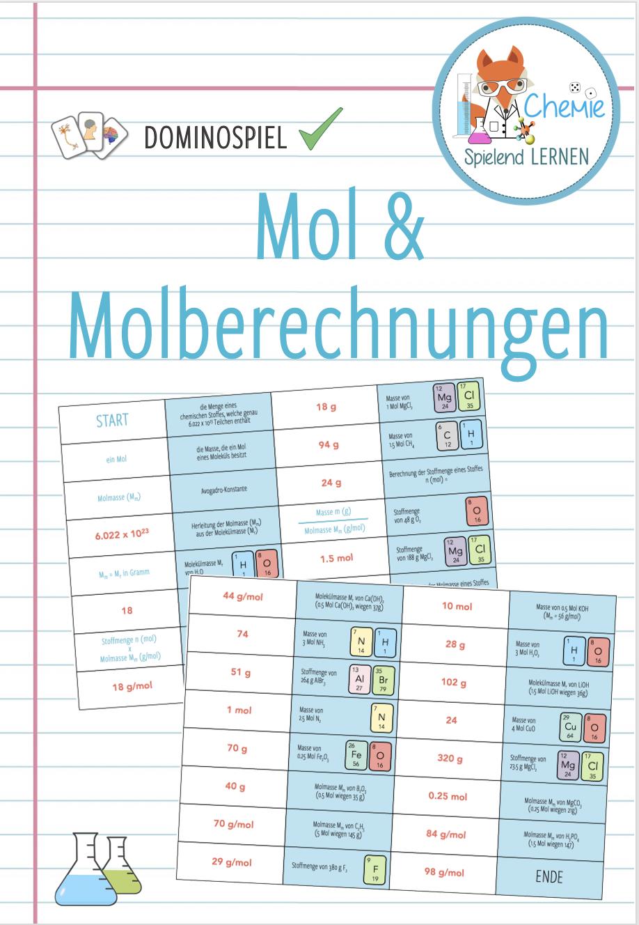 Mol Und Molberechnungen Domino Spiel Unterrichtsmaterial In Den Fachern Chemie Fachubergreifendes Domino Spiele Lernen Anatomie Lernen