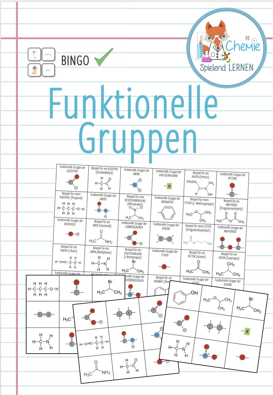 Funktionelle Gruppen Bingo Unterrichtsmaterial Im Fach Chemie Bingo Lernen Organische Chemie