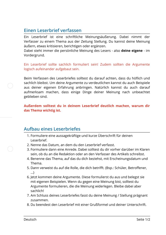 Einen Leserbrief Verfassen Unterrichtsmaterial Im Fach Deutsch Brief Unterrichtsmaterial Schuler