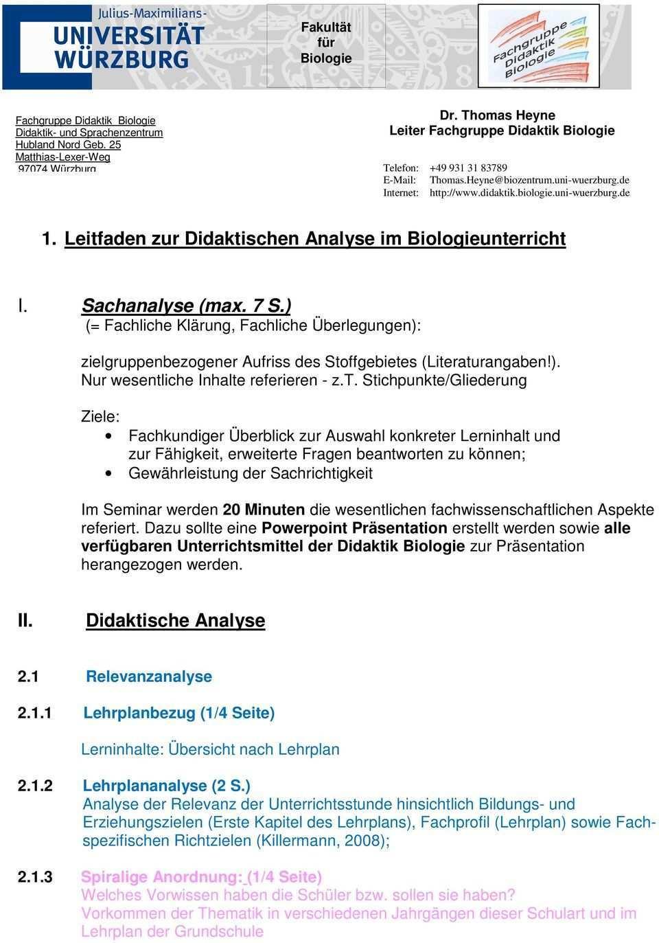 1 Leitfaden Zur Didaktischen Analyse Im Biologieunterricht Pdf Kostenfreier Download