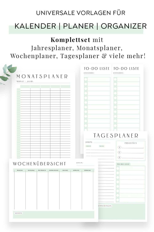Kalender Und Planer Vorlagen Zum Ausdrucken Jahresplaner Monatsplaner Wochenplaner Tagesplaner Pdf Planer Vorlagen Tagesplan Vorlagen Planer