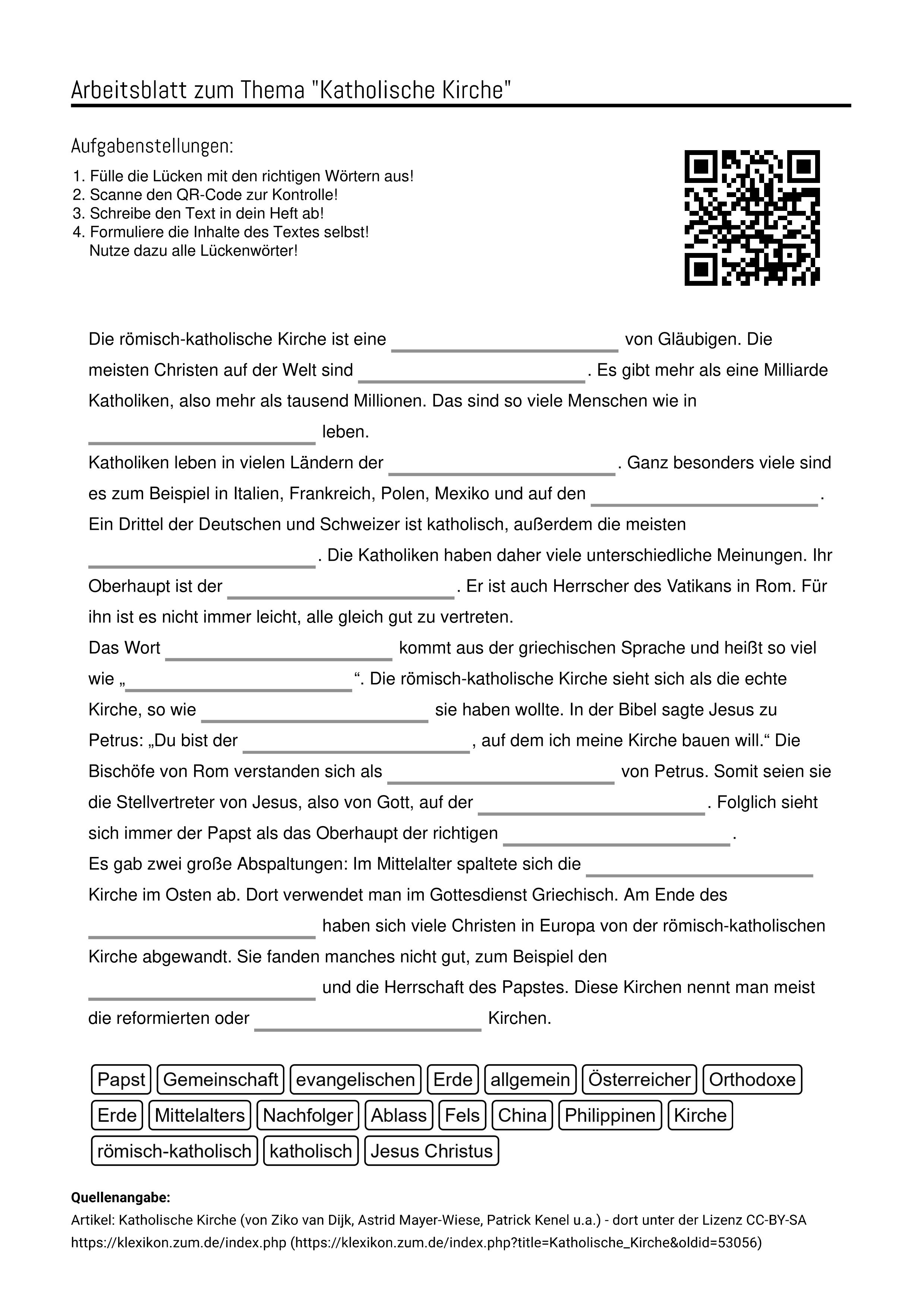 Arbeitsblatter Zum Thema Aufgabenstellung Katholische Kirche Arbeitsblatter