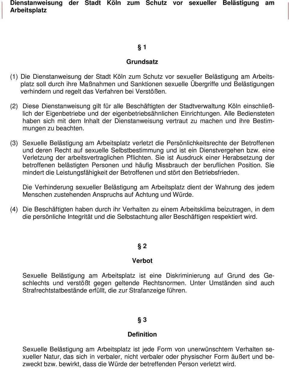 Dienstanweisung Der Stadt Koln Zum Schutz Vor Sexueller Belastigung Am Arbeitsplatz Grundsatz Pdf Free Download