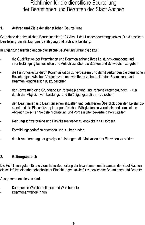 Richtlinien Fur Die Dienstliche Beurteilung Der Beamtinnen Und Beamten Der Stadt Aachen Pdf Free Download