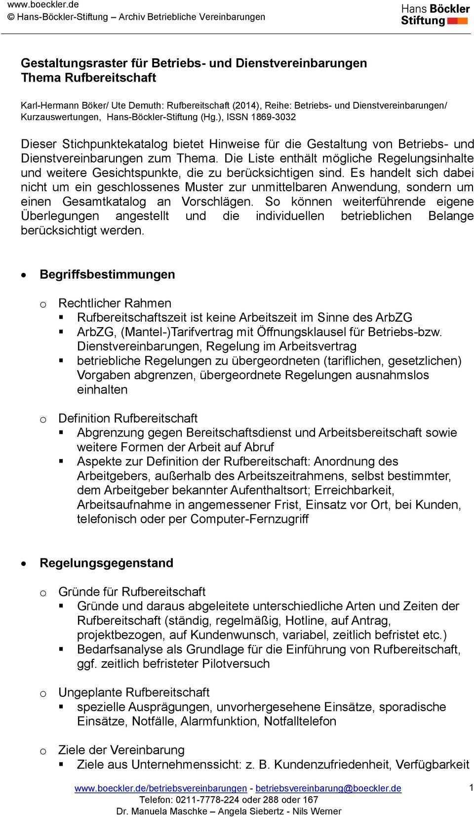 Gestaltungsraster Fur Betriebs Und Dienstvereinbarungen Thema Rufbereitschaft Pdf Kostenfreier Download