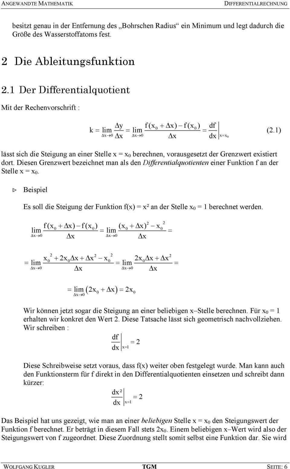 Angewandte Mathematik Differentialrechnung Autor Wolfgang Kugler Pdf Kostenfreier Download