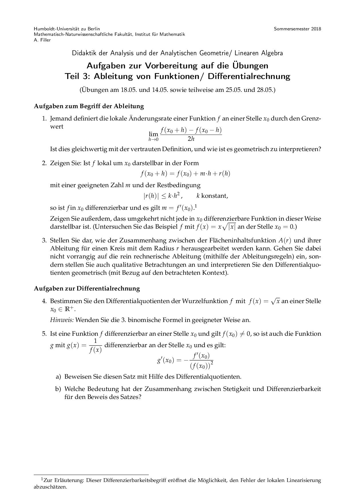 Aufgaben Zur Ableitung Von Funktionen Differentialrechnung Hu Berlin Docsity