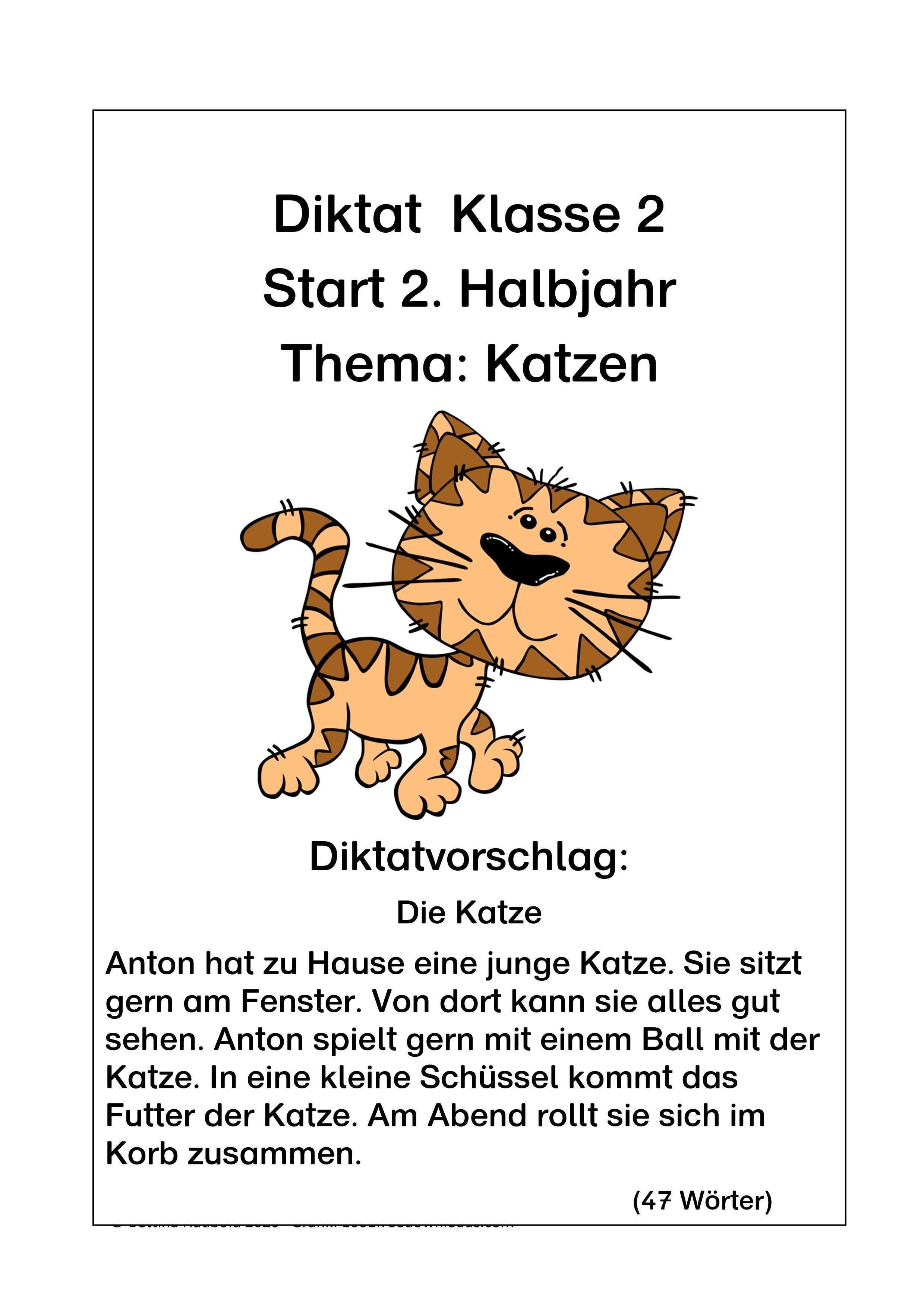 Leistungsdifferenziertes Diktat Thema Katze In 2020 Erste Klasse Mathe Ubungen Klasse 2 Deutsch Lernen Kinder