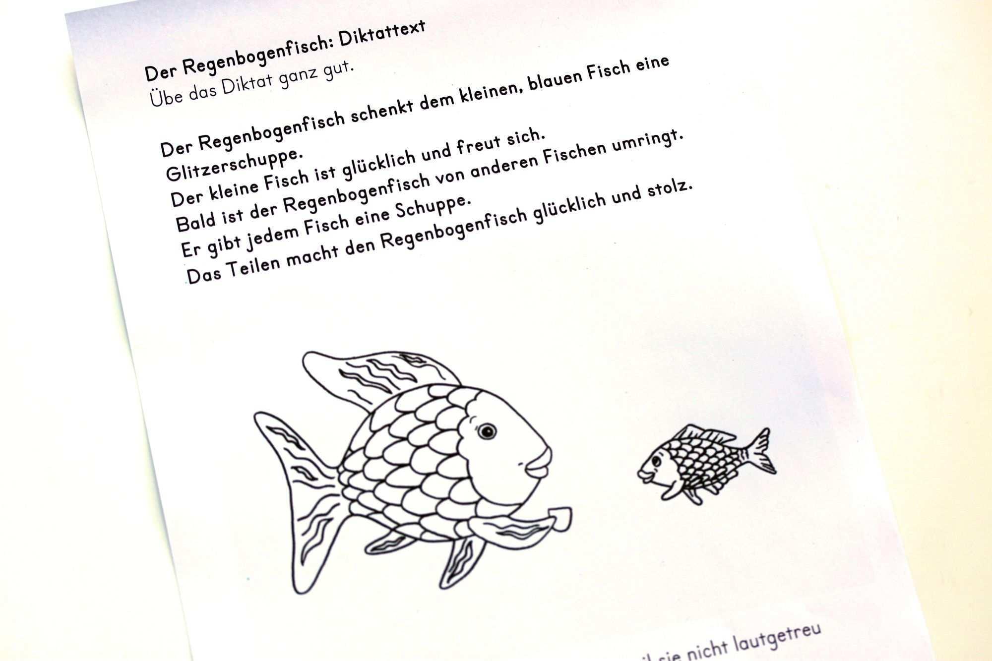 Diktattext Der Regenbogenfisch Regenbogenfisch Regenbogen Fische