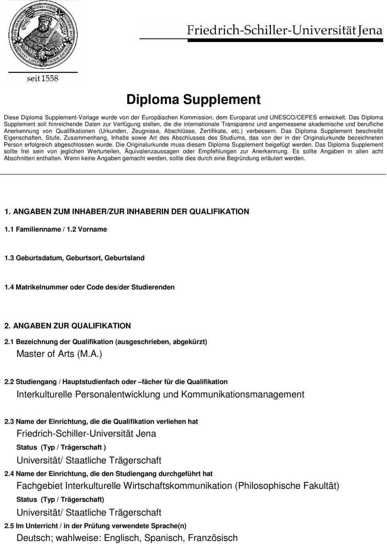 Diploma Supplement Interkulturelle Personalentwicklung Und Kommunikationsmanagement Pdf Free Download