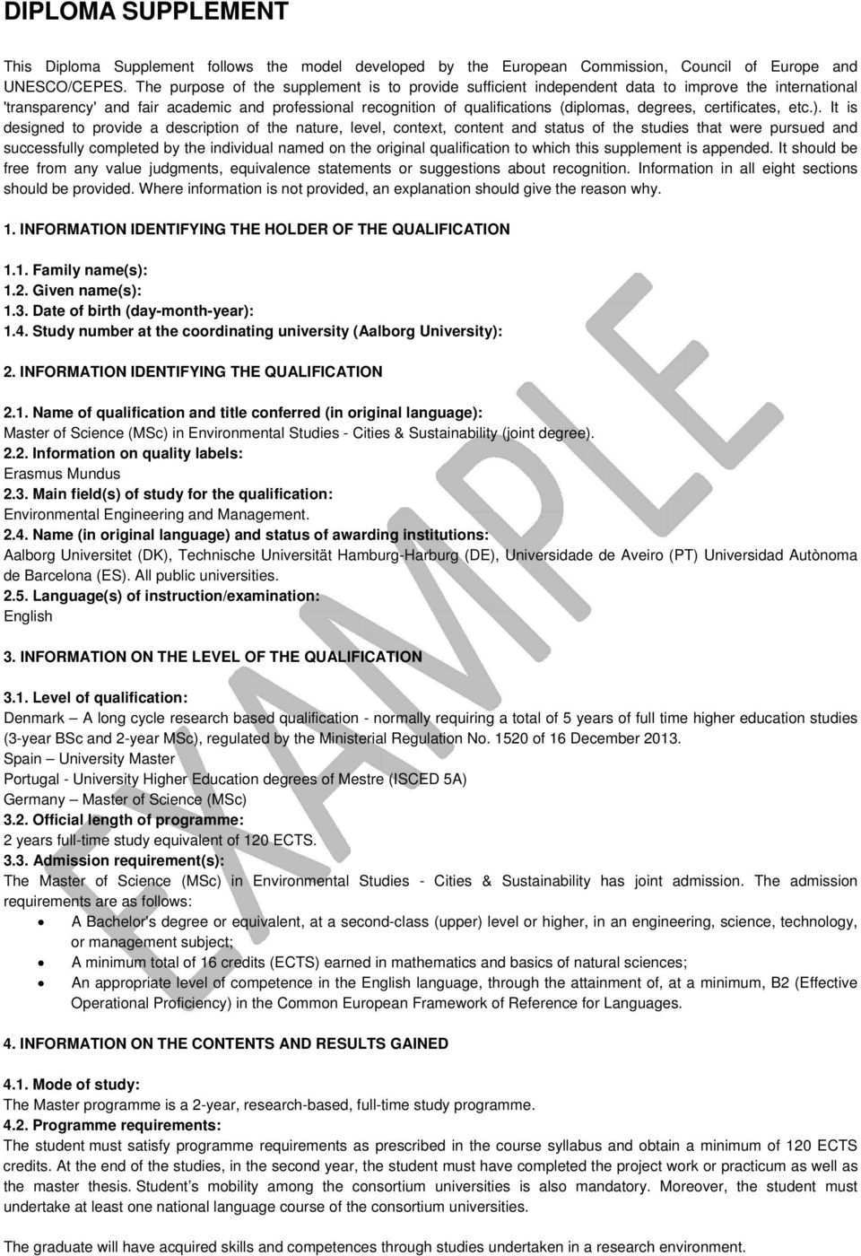 Diploma Supplement 1 Information Identifying The Holder Of The Qualification Pdf Free Download