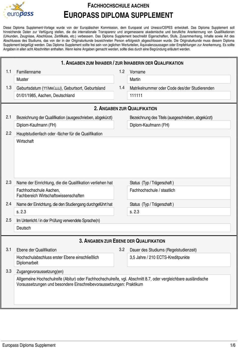Fachhochschule Aachen Europass Diploma Supplement Pdf Free Download