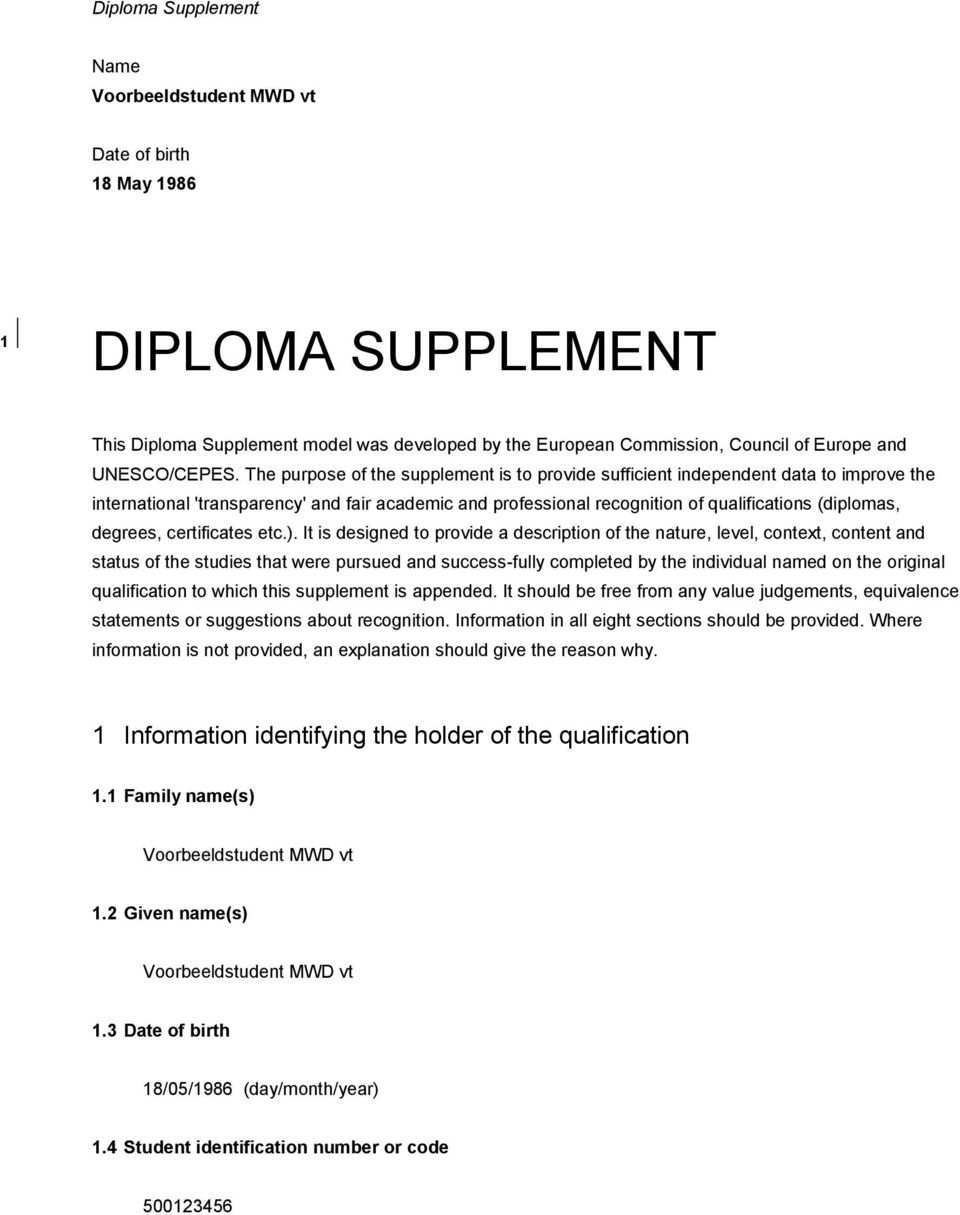 Diploma Supplement 1 Information Identifying The Holder Of The Qualification Diploma Supplement Name Voorbeeldstudent Mwd Vt Pdf Free Download