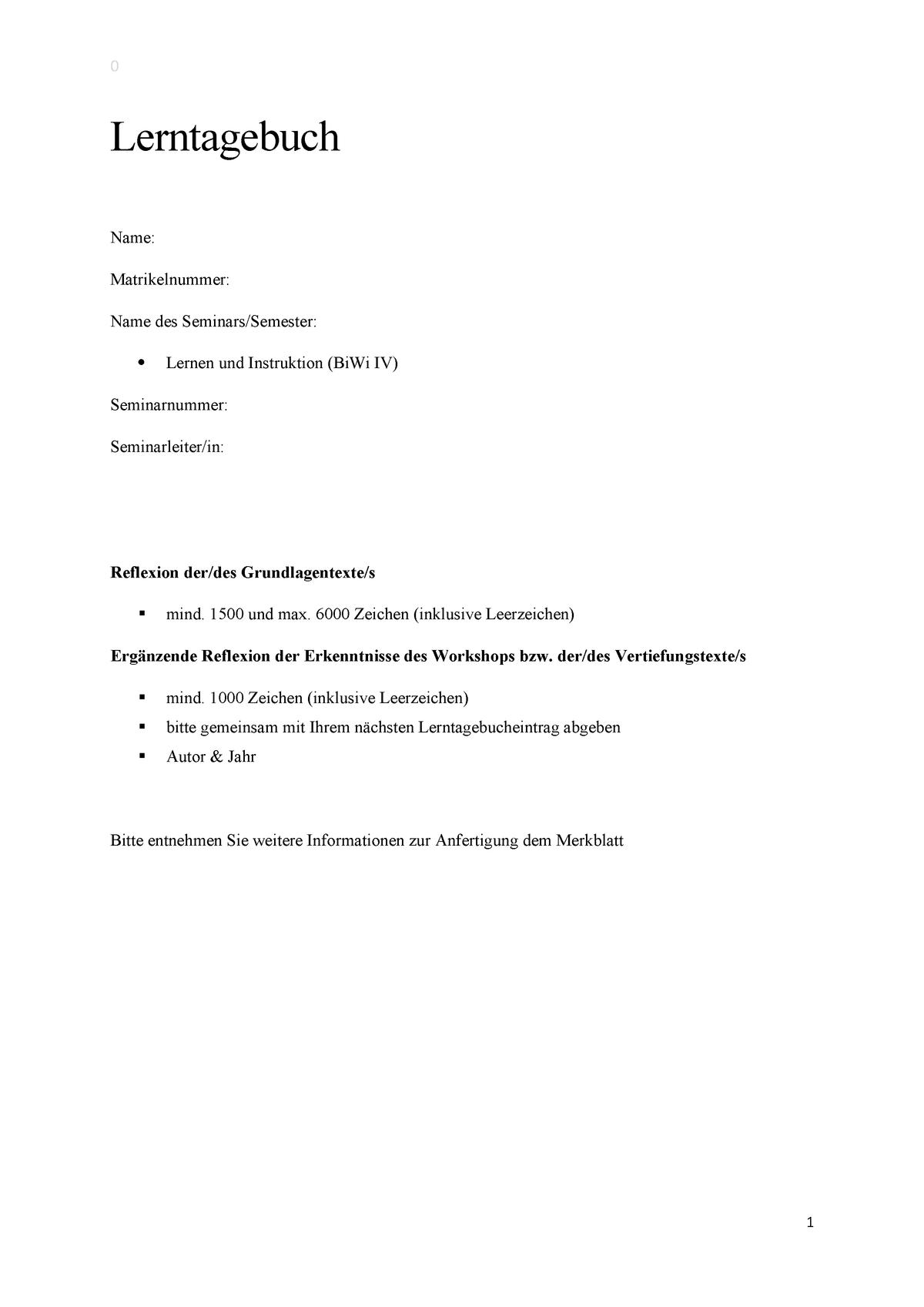 Lerntagebuch Bi Wi 4 Beispiel Studocu