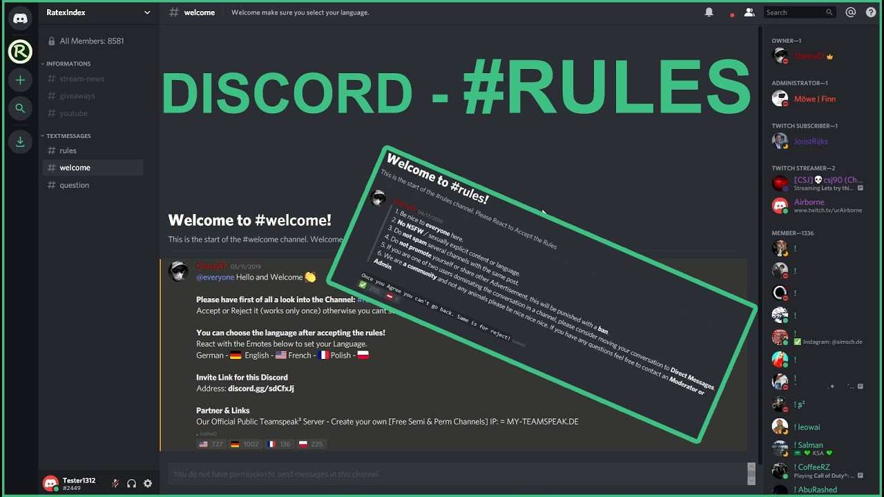 Discord Server Regeln Update 2020 Youtube