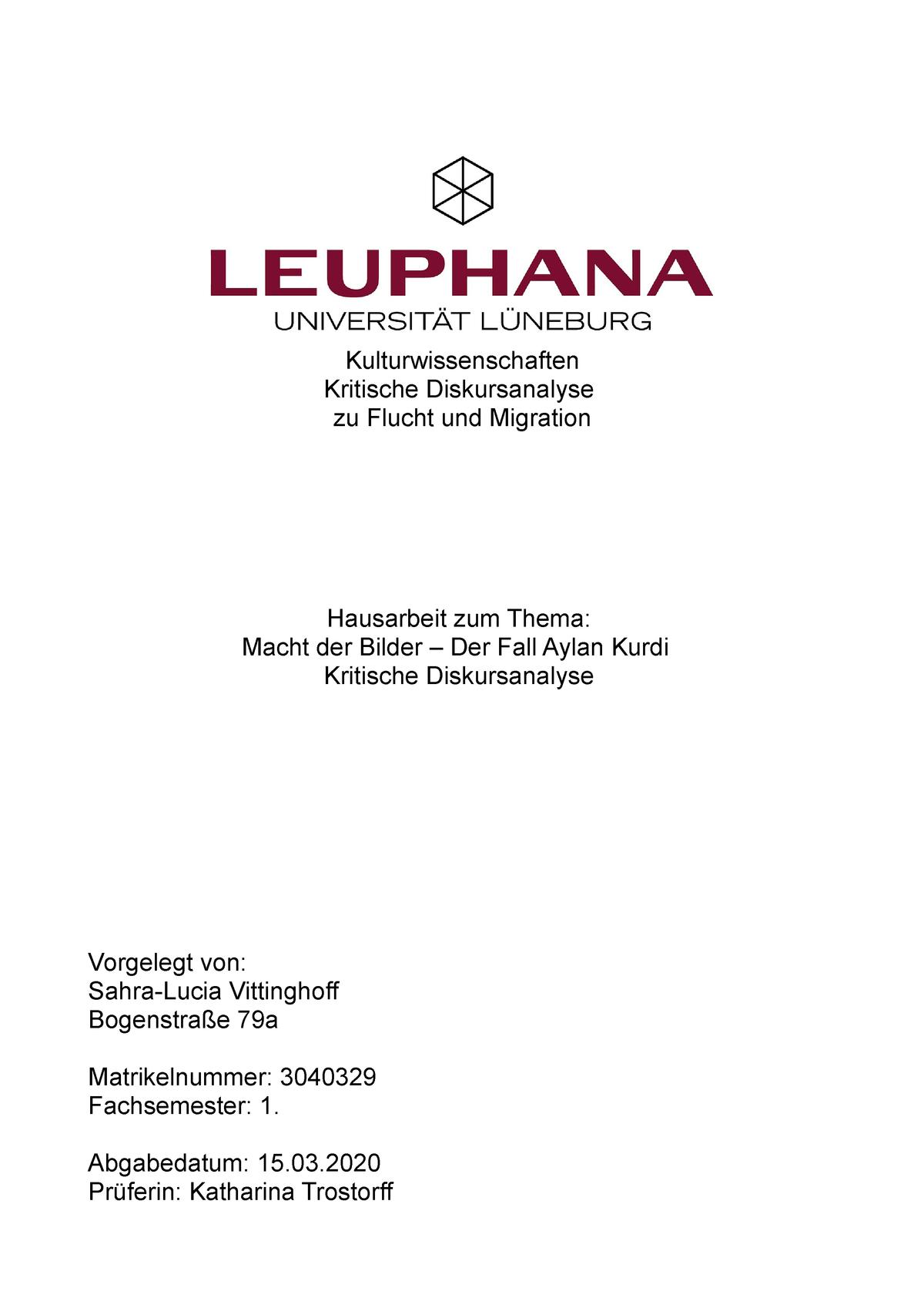 Kritische Diskursanalyse Zu Flucht Und Migration Aylan Kurdi Studocu